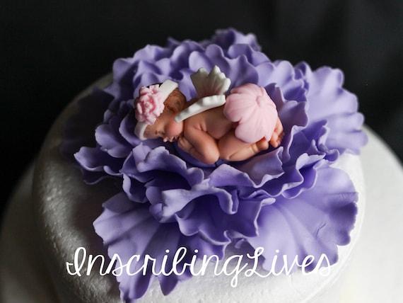 Fee Baby Shower Kuchen Topper Madchen Lavendel Pfingstrose Etsy