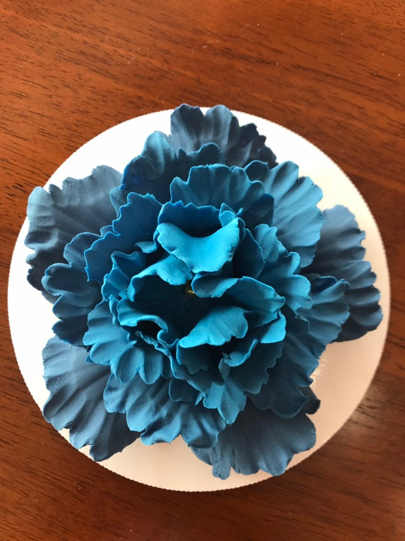 Vintage Navy Blue Wedding Cake Topper Xl Ombre Peony Fondant Flowers Gold Edible Decorations Baby Shower Extra Large Flower Inscribinglives