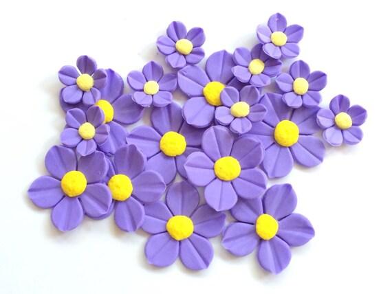 24 Fleurs De Fondant Lavande Fleurs Comestibles Gateau Etsy