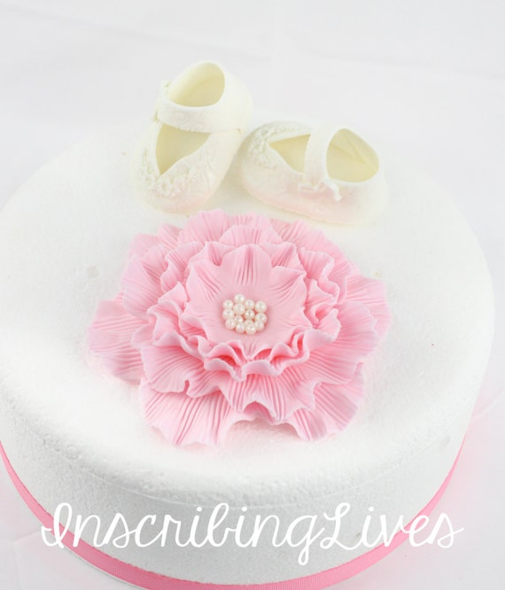 Blume N Schuh Baby Madchen Fondant Kuchen Topper Taufe Kuchen Etsy