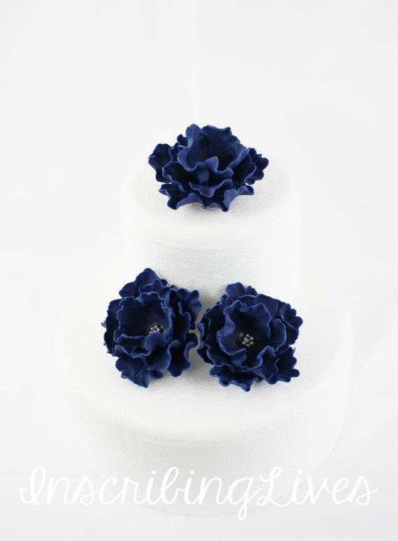 Navy Blue Fondant Flower 3pcs Peony Cake Flower Navy Blue Etsy