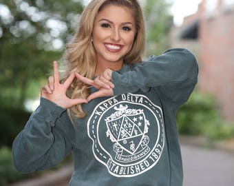 Kappa Delta Comfort Color Crewneck Sweatshirt - KD Letter Shirt - Comfort Color Oversized Shirt