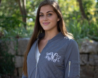 Monogrammed Charles River Quilted Boston Flight Jacket - Monogrammed Jacket - Monogrammed Quilted Jacket- 5027