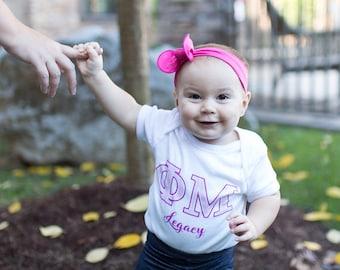 Phi Mu Legacy Infant Creeper - sorority infant - Phi Mu infant shirt
