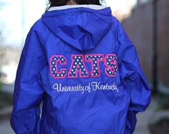 University of Kentucky Stitched Letter Rain Jacket with Monogram - UK Ladies Rain Jacket