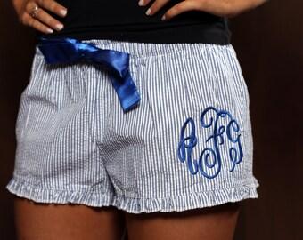 Monogrammed Seersucker Bitty Boxer Shorts - Monogrammed Seersucker Boxers - Monogrammed Pajama Shorts