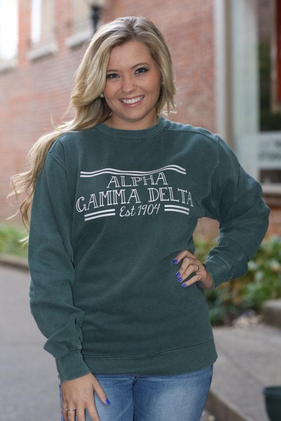Alpha Gamma Delta Comfort Color Crewneck Sweatshirt Agd