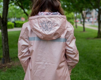 Monogrammed Charles River Women's New Englander Rain Jacket with Print Lining Front and Hood- 5996