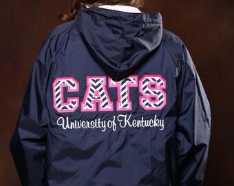 Monogrammed University of Kentucky Stitched Letter Rain Jacket - UK Ladies Rain Jacket