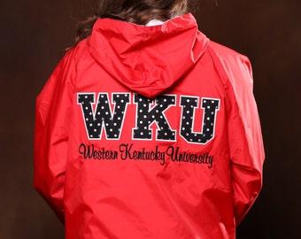 Western Kentucky University Stitched Letter Rain Jacket - Ladies Rain Jacket
