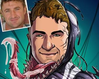 Be The Hero: Venom --- custom art, cartoon, superhero portrait, gift for him, poster, illustration, comic, caricature, dad