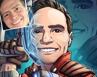 Be The Hero: Starlord --- custom art, cartoon, superhero portrait, gift for him, poster, illustration, comic, caricature, dad