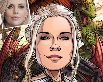 Be The Hero: Daenerys Targaryen --- custom art, cartoon, portrait, for her, poster, illustration, comic, caricature, mom, girlfriend