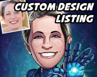 Be The Hero: Custom Design --- custom art, cartoon drawing, superhero portrait, gift for him, poster, illustration, comic, caricature