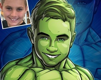 Be The Hero: The Hulk --- custom art, cartoon, superhero portrait, gift for him, poster, illustration, comic, caricature, dad