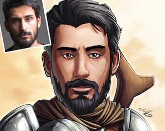 Be The Hero: The Mandalorian! --- custom art, cartoon drawing,starwars, portrait, gift for him, poster, illustration, comic, caricature