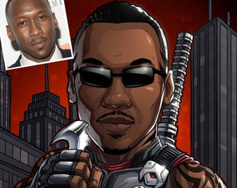 Be The Hero: Blade! --- custom art, cartoon drawing, superhero portrait, gift for him, poster, illustration, comic, caricature