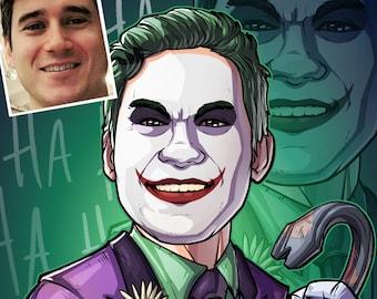 Be The Villain: The Joker! --- custom art, cartoon drawing, superhero portrait, gift for him, poster, illustration, comic, caricature