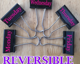 Personalized Set of 5 Reversible Binder Clips Monday - Friday with Name