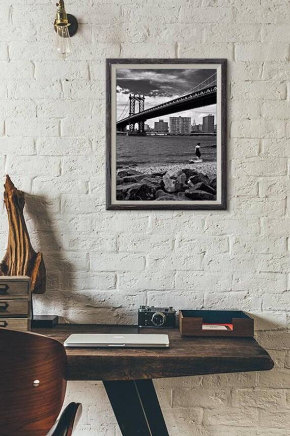 New York Photo Fine Art Print Manhattan Bridge Black And White Picture Brooklyn Hudson Nyc Street View Picture Wall Art