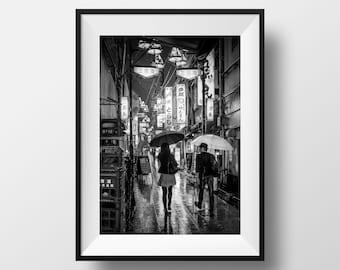 Tokyo Photo Fine Art Print - Japan Black and White Köenji Lantern Street View Photography Umbrella Image Picture Poster Japan Wall Art