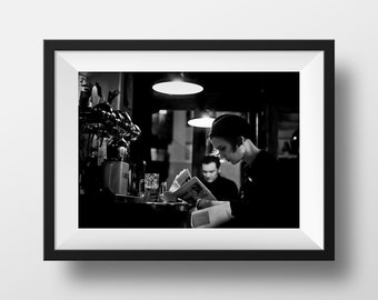 Fine ART Print of Paris  -  Atmosphere Parisian Café Bistrot Canal Saint Martin Photo in Black and White Street View Picture Poster France