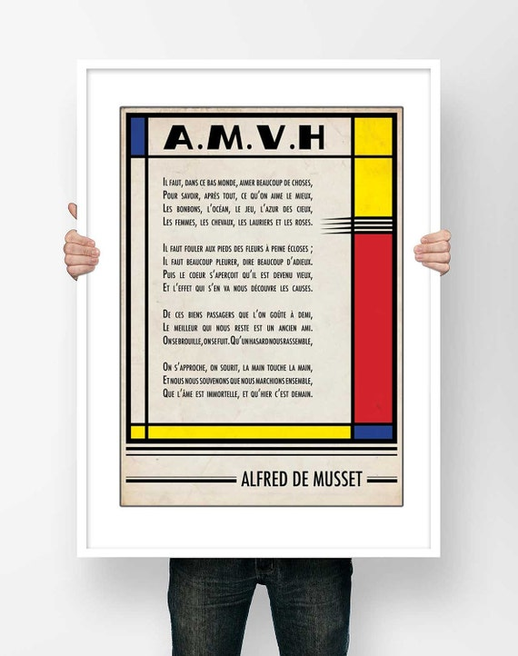 Literary Fine Art Print Poster Typography Alfred de Musset A.M.V.H Poem Illustration Literary Bauhaus spirit design Wall Art