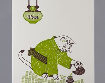 Letterpress Tea Master Cat Greeting Card