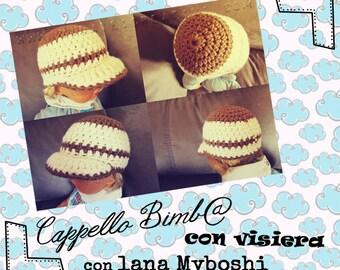 """Pattern Uncinetto: """"Cappello con Visiera per Bimbi con Lana Myboshi"""" (Tutorial Step by Step)"""