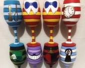 Wonderland Set of 8 Inspired Hand Painted Wine Glasses.