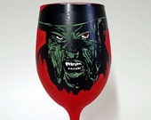 Horror Movie Villain inspired hand painted wine glass.