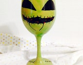 Glow in the Dark Oogie Boogie Inspired Hand Painted Wine Glass.