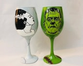 The Bride and Monster Inspired Hand Painted Wine Glass Set.