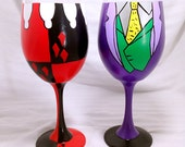Vixen And Villain Inspired Hand Painted Wine Glasses.