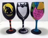 Jack, Oogie and Sally inspired hand painted wine glasses.