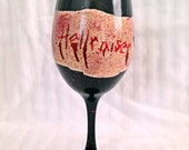 Horror Movie Logo inspired hand painted wine glass.