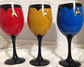 Sci fi Series set of 3 inspired hand painted wine glasses.