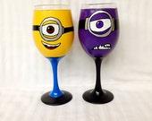 Cartoon Character  Inspired  Wine Glass.
