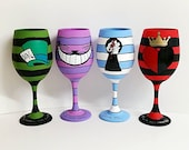 Fantasy set of 4 inspired, hand painted wine glasses.