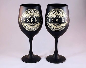 Arsenic and cyanide Inspired Hand Painted Wine Glass.