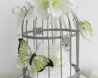 Cage with butterflies and flowers wedding ring pillow