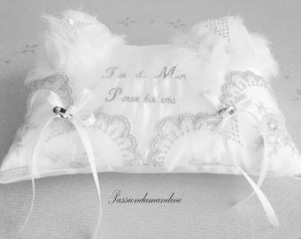 Wedding pillow-bearer you & me forever silver and white
