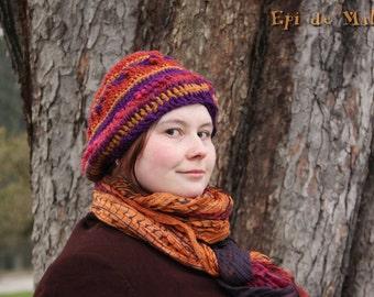 PROMO !!! Autumnal hat, beret, beanie, slouchy hat, tam, soft, handcrocheted, hippie / boho / violet, purple, orange, rusty colors, brown