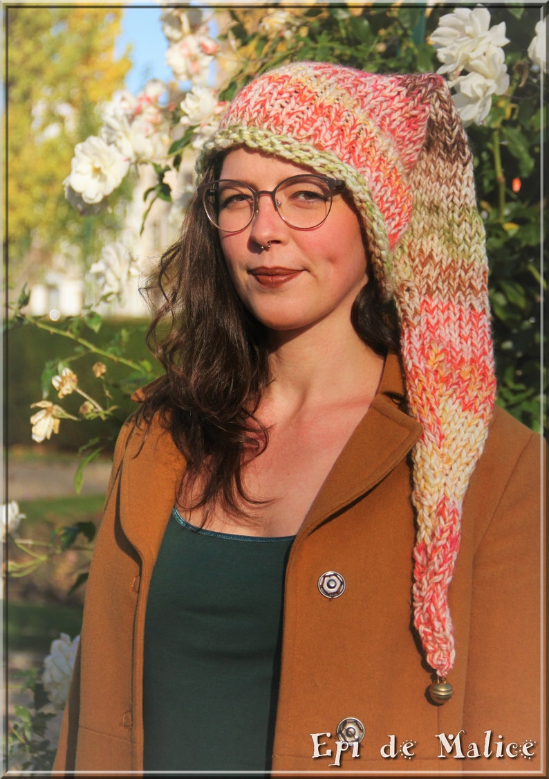 attached bell cosplay forest fairy knitted pixie hat Long tailed fantasy festival elven elfin pointy elf hat unisex pagan hippie