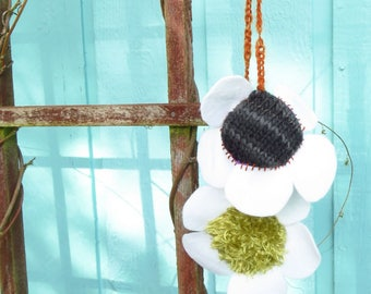 White Lavender Posey - Handknit, handsewn flowers - hanging decorations, felt flowers, knitted, hand sewn, floral decor, plushie flower