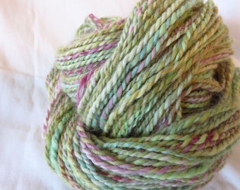 Fanciful Unicorn - Handdyed, handspun yarn - handpainted yarn, rainbow, pastels, alpaca angora blend, super soft, lofty, medium weight