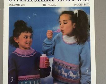 Children's Sweatshirt Knit-Ins Vol 204 (for knitting machines), Knitted Panel Girls Sweatshirt, Machine Knitting Punch Card, Fair Isle