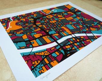 Glasgow  Art Map - Limited Edition Contemporary Giclée Print