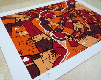 Cambridge (UK) Art Map - Limited Edition Contemporary Giclée Print
