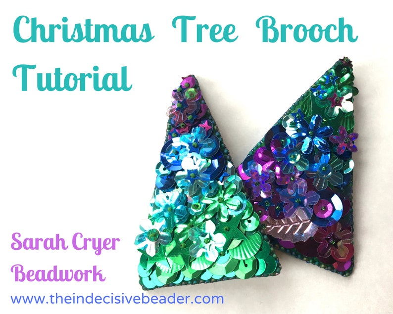 TUTORIAL Christmas Tree Brooch Bead Embroidery Tutorial image 0